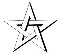 A 5-pointed star drawn by double lines,                                 the intersections being under and over, creting a 3D effect.