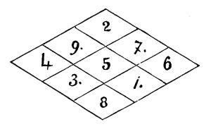Magic square, diamond shape, 3 x 3, with 1, 3, 7 and 9 inserted in blank areas