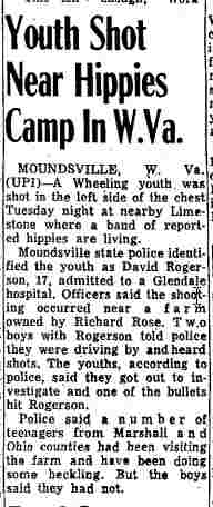 Youth Shot Near Hippies Camp In W.Va. - Cumberland News, Maryland - July 18, 1968