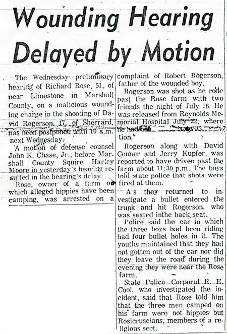 Wounding Hearing Delayed by Motion - Wheeling Intelligencer - August 1, 1968