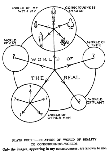 Plate 4, Relation of world                                 of reality to consciousness-worlds. Only the images, appearing in my consciousness,                                 are known to me.